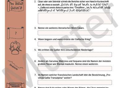 Caesar, Bellum Gallicum: Fragen über Fragen zum Wissensposter