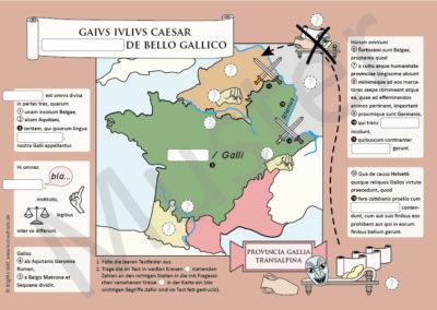 Caesar, Bellum Gallicum: Posterbild mit Lückentext